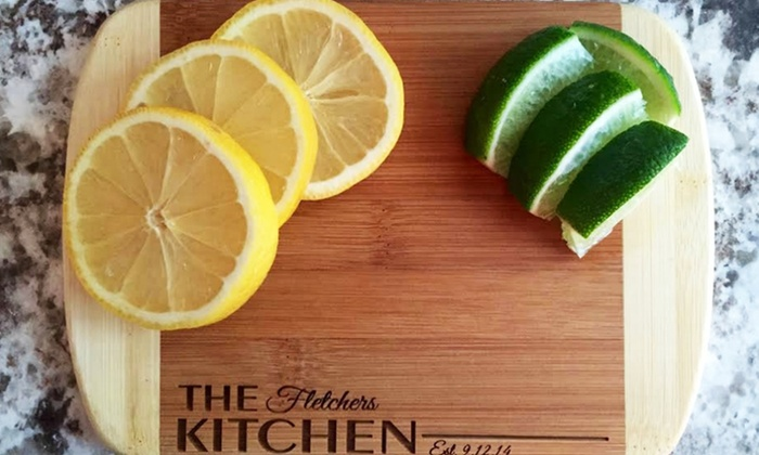 """American Laser Crafts: One or Two Personalized 6""""x8"""" Bamboo Cutting Boards from American Laser Crafts (Up to 53% Off)"""