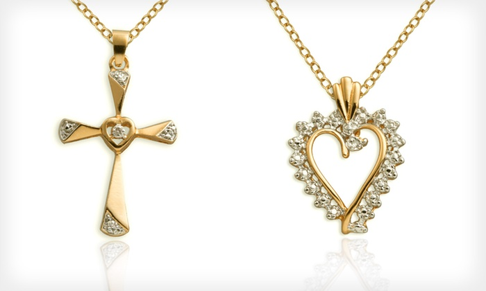 Diamond Accent Pendants: $10 for Sterling-Silver Diamond Accent Cross or Heart Pendant with Chain ($49.99 List Price). Free Returns.