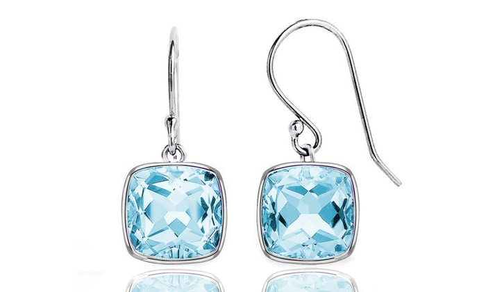 3 50 Ctw Cushion Cut Genuine Blue Topaz Drop Earrings