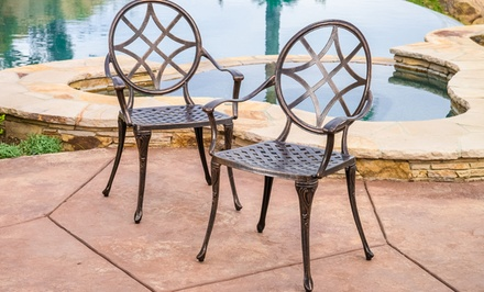 Set of 2 Norcross Cast Aluminum Outdoor Dining Chairs
