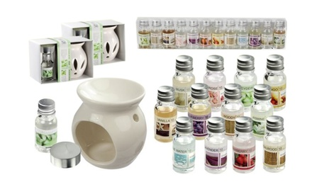 Up to 30 Aromatherapy Fragrance Oils 10ml Gift Boxed or Up to 4 Oil Burner Gift Sets with Up to 16 Fragrance Oils 10ml