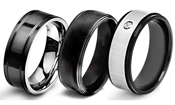 Mens Blackplated Stainless Steel or Titanium Wedding Bands Groupon