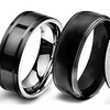 Men's Black-plated Stainless Steel or Titanium Wedding Bands