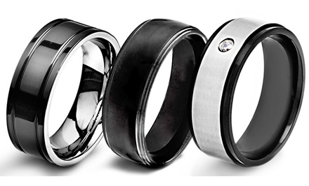 groupon daily deal - Men's Black-plated Stainless Steel or Titanium Wedding Bands. Multiple Styles Available. Free Returns.