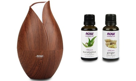 Now Foods Ultrasonic Faux Wood Grain Aromatherapy Oil Diffuser with Eucalyptus and Ginger Oils