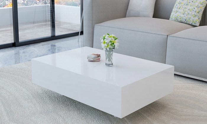 Table basse laqu e groupon shopping - Table basse blanche rectangulaire ...