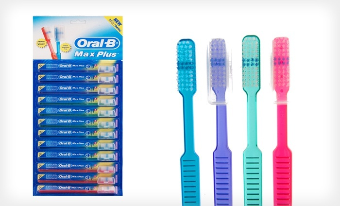 12-Pack of Oral-B Toothbrushes with Caps: 12-Pack of Oral-B Toothbrushes with Caps