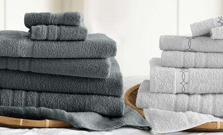 6-Piece 100% Egyptian Embroidered LaBoheme Towel Set