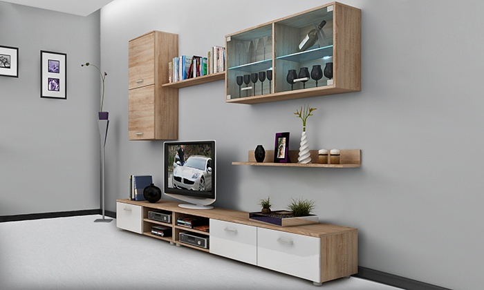 meubles muraux pour salon groupon. Black Bedroom Furniture Sets. Home Design Ideas