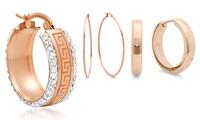 Hoop, Stud, and Pearl Earrings Plated in 18K Rose Gold