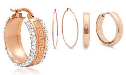 Hoop, Stud, and Pearl Earrings Plated in 18K Rose Gold