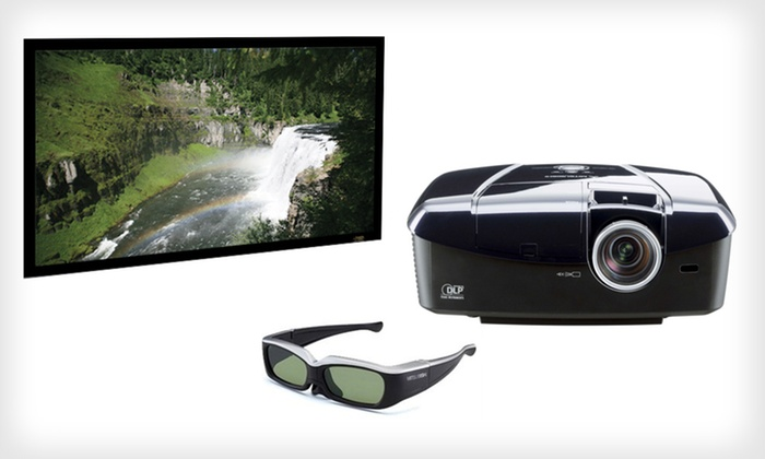 "Mitsubishi DLP 3-D Projector with Optional 106"" Screen: Mitsubishi 1080p DLP 3-D Projector with Optional 106-Inch Screen (Up to 41% Off). Free Shipping and Free Returns."