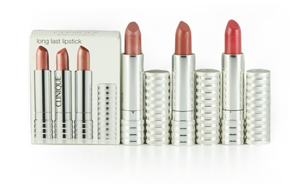 Clinique Long Last Lipstick Trio in All Heart, Blushing Nude, and Runway Coral