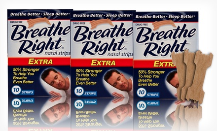 Three 10-Packs of Breathe Right Extra Nasal Strips