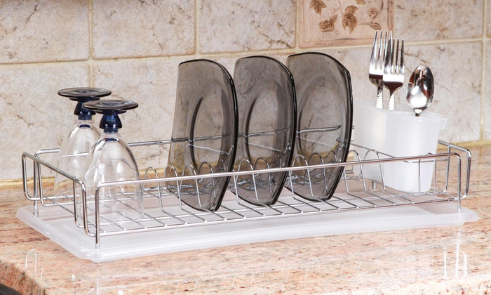 Compact Chrome Dish Rack