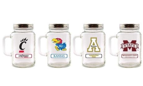 NCAA 30 Oz. Glass Mason Jar with Lid