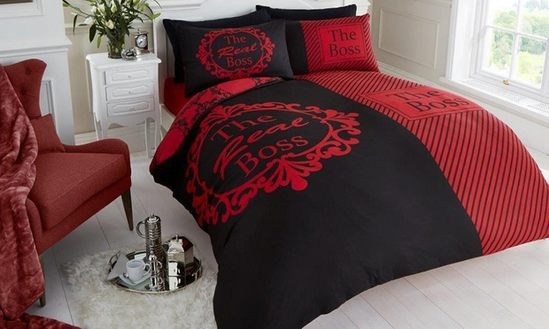 parure de lit the real boss groupon shopping. Black Bedroom Furniture Sets. Home Design Ideas