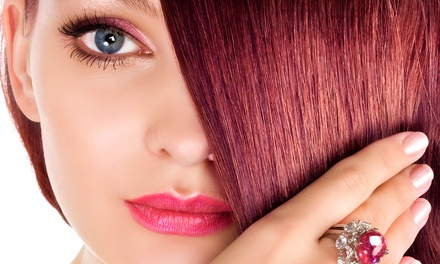 Haircut, Style, and Scalp Massage with KeraTriplex Treatment or Base Color at Jennifer Andre Salon (Up to 55% Off)