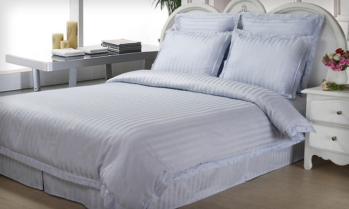 500 TC Egyptian-Cotton Duvet Set with Bed Skirt: Damask Stripe Collection 500 TC Egyptian-Cotton Duvet Cover Set (Up to 80% Off). Free Shipping and Returns.