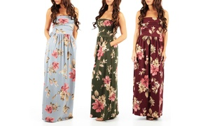 Women's Strapless Floral Print Dress with Pockets