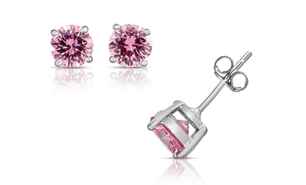 2-CTTW Pink Cubic Zirconia Stud Earrings in Solid Sterling Silver