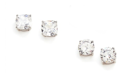 Savvy Cie Set of 2 Cushion Stud Simulated-White-Topaz Earrings | Brought to You by ideel