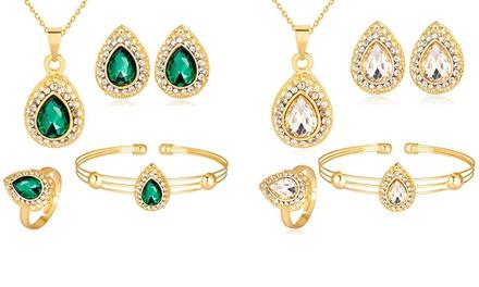 5delige set sieraden versierd met kristallen