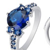 2.33 CTTW Lab-Created Blue Sapphire Ring with Free Pearl Earrings