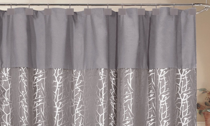 70x72 Woven Jacquard Shower Curtain With Hooks 70