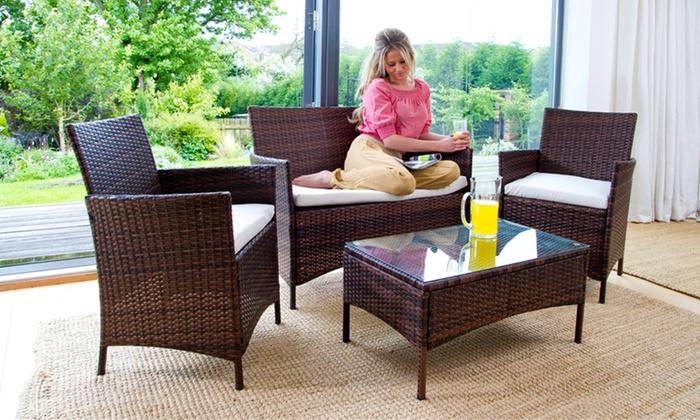 Rattan garden furniture groupon goods for Outdoor furniture groupon