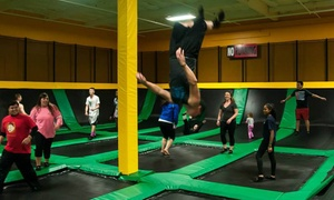 Rockin' Jump: Trampoline Jump Passes and Birthday Parties at Rockin' Jump Orange County(Up to 50% Off). Six Options Available.