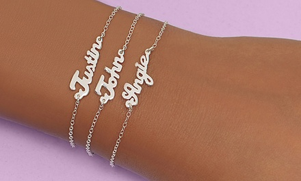 $5 for Single-Name Sterling Silver Plated Mini Name Plate Bracelet ($64.99 value)