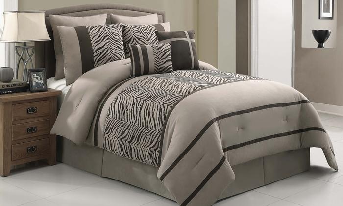 8-Piece Zebra-Print Comforter Set in Queen or King from $54.99–$59.99. Free  Returns.