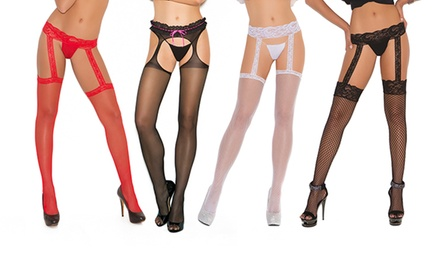 Elegant Moments Garter Belt and Suspender Pantyhose in Regular and Plus Sizes