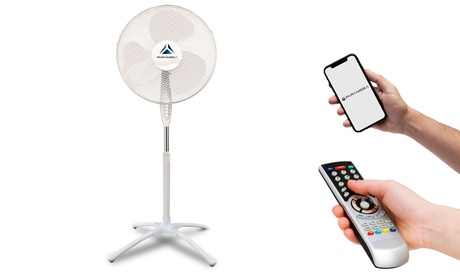 Ventilador de pie con tres velocidades y conexión de infrarrojos