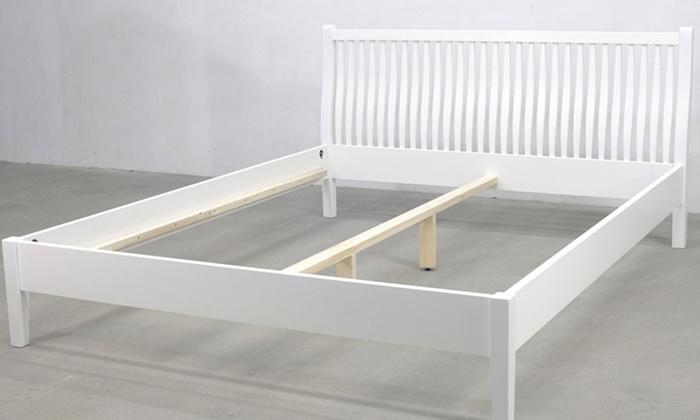Biała Rama łóżka Ze Stelażem Groupon