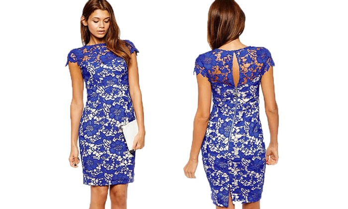 Women's Lace Knee-Length Dress | Groupon Goods
