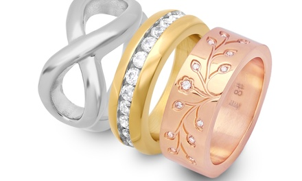 Tree of Life, Infinity, or CZ Accent Ring or Set of 3 Tri-Colored Band Rings in Stainless Steel from $19.99–$22.99