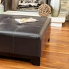 Avalon Brown Leather Ottoman