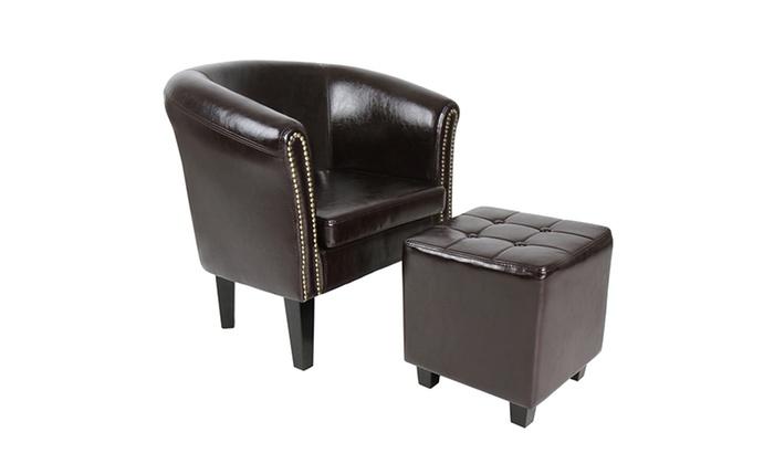 Pleasing Tot 10 Op Chesterfield Fauteuil Met Poef Groupon Producten Lamtechconsult Wood Chair Design Ideas Lamtechconsultcom