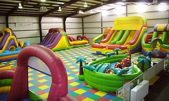 Jump N Jungle - University Pines: Inflatable Play and Refreshments at Jump N Jungle (Half Off). Two Options Available.