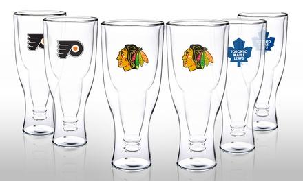 2-Pack of NHL Plastic Beer Mugs with Embossed Team Logo