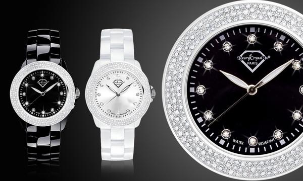 1 ou 2 montres style céramique ornées de 90 cristaux SWAROVSKI ELEMENTS dès  18,90€ (jusqu'à 84% de réduction)