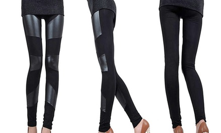 1- or 3-Pack of Faux Leather Paneled Leggings from $14.99–$22.99