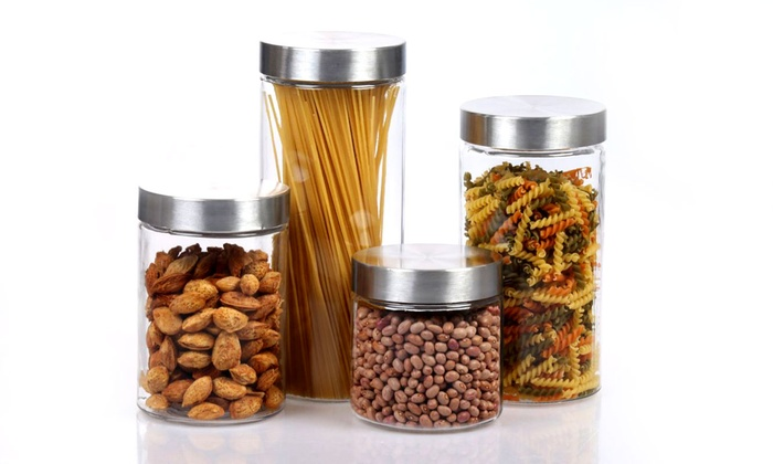 Glass Canister Set with Airtight Lids (8-Piece)