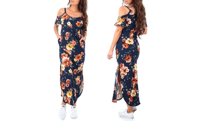 Up To 53% Off on Women\'s Cold Shoulder Maxi Dress | Groupon ...