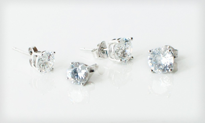 Classic Stud Earrings: 6- or 8-Millimeter Sterling-Silver Cubic-Zirconia Stud Earrings (Up to 88% Off)