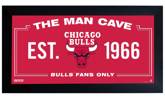 "Chicago Bulls Man Cave 6""x12"" Framed Sign: Chicago Bulls Man Cave 6""x12"" Framed Sign"