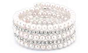 Crystal And Pearl Multi-row Bracelet With Swarovski Elements