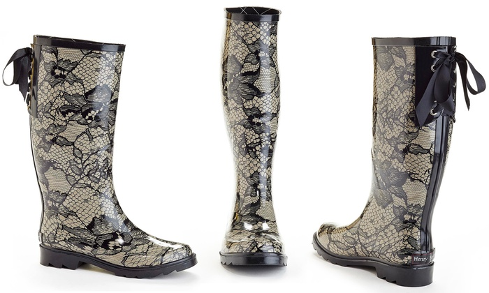 Women's Lace-Detailed Rain Boots | Groupon Goods